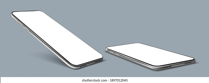 Realistic Vector smartphone. Smartphone frame with blank display isolated, Smart phone Multiple angle views. Vector mobile device concept.