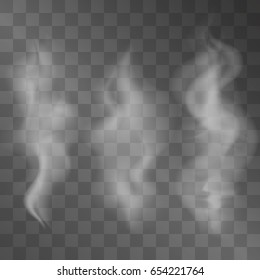 Realistic vector smoke set on transparent background. Hazy steam curls for decorative effect. Cigarette fumes design. Curvy dim veil.