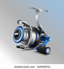 Realistic vector spinning reel for fishing