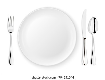 Realistic vector spoon, fork, knife and dish plate closeup isolated on white background. Design template or mock up. Top view