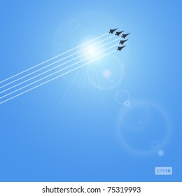 Realistic vector sun and jets with lense flare. No mesh.