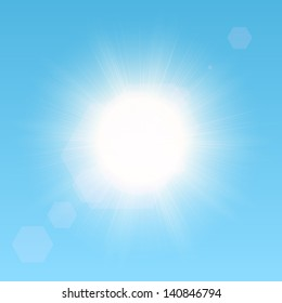 Realistic vector sun in the sky. EPS10 image.