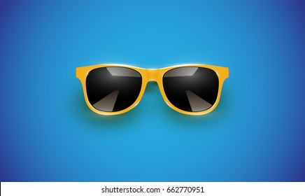 Realistic vector sunglasses on a blue background, vector illustration