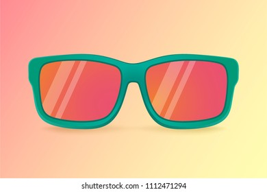 Realistic vector sunglasses on a yellow background. Summer banner. Sunglasses icon or silhouette. Vector design illustration.