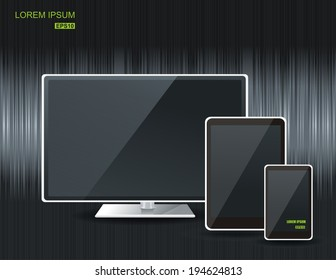 Realistic vector  tablet computer, monitor and mobile phone