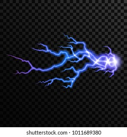 Realistic vector thunderbolt, bright magic lighting effect. Electric light thunder spark isolated on transparent background, for your design.