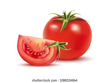 Realistic vector of tomatoes isolated on white background. 3D Vector ilustration.