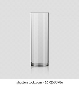 Realistic vector transparent glass. Empty glass on a transparent background.