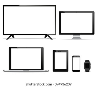 Realistic vector TV screen, Lcd monitor, laptop and tablet, mobile phone, watch  with blank screen. Isolated on white background. for  business presentations