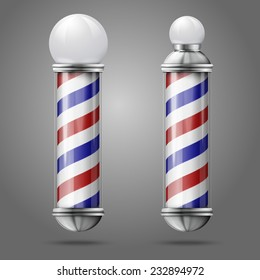 Realistic vector - two different old fashioned vintage silver and glass barber shop poles with red, blue and white stripes. Isolated on grey background, for design and branding.