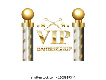Realistic vector - two gold old fashioned vintage glass barber shop poles Barber Sign. For design and branding.