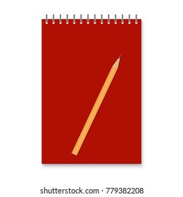 Realistic vector vertical paper spiral empty notebook with red cover and  lead pencil, office and school equipment mock up, vector illustration