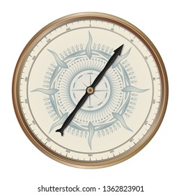 Realistic vector vintage bronze navigation compass. Antique intertwining ornament on the dial. Isolated on white background
