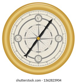Realistic vector vintage gold navigation compass. Antique intertwining ornament on the dial. Isolated on white background