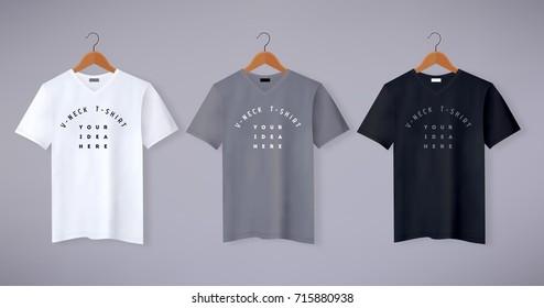 Realistic vector v-neck t-shirt mock up illustration