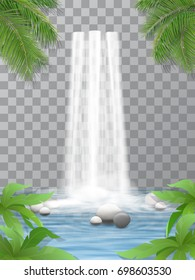 Realistic vector waterfall with clear water. Stones in water. Jungle, leaves of plants in the foreground. Natural element for design landscape images. Isolated on transparent background.
