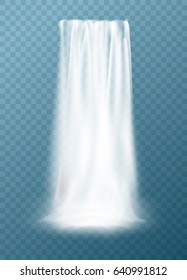 Realistic vector waterfall design. Clear water element for landscape background. Beautiful waterfall isolated on transparent.