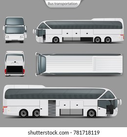 Realistic vector white coach bus mockup, rear, front, top, side view. Passenger transport, travel vehicle, opened doors, trunk. Blank city bus template for corporate identity, branding design.