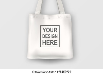 Realistic Vector Black Empty Textile Tote Stock Vector Royalty Free