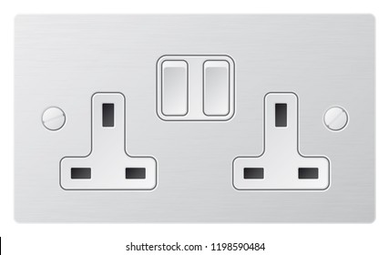 Realistic vector white socket. Electrical outlet in the UK
