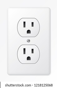 Realistic vector white socket. Electrical outlet in the USA