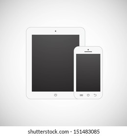 Realistic vector white tablet computer and mobile phone template