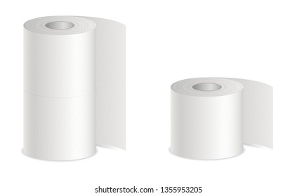 Realistic vector white textured 3d isolated toilet paper and kitchen paper towel roll vector illustration