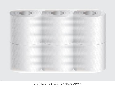 Realistic vector white textured 3d isolated toilet paper and kitchen paper towel roll transparent package mock up vector illustration on grey background texture