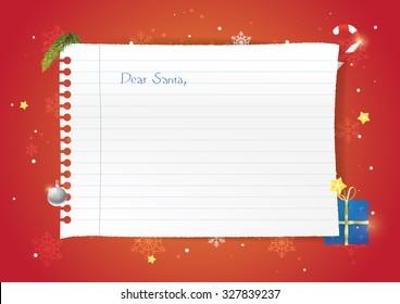 Realistic vector wishlist for christmas. Christmas postcard, dear Santa Claus.