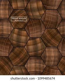 Realistic vector wood texture for background and icon. Seamless pattern design. Hexagonal shape of natural wood. Sawed wood picture.