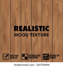 Realistic vector wooden texture. Editable seamless background
