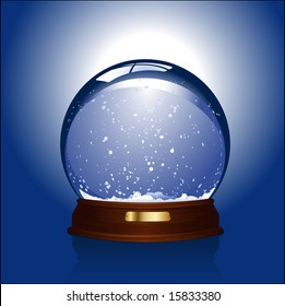 Realistic vector-illustration of an empty snow-dome against a blue background - customize by inserting your own object