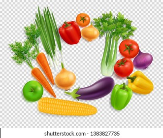 Realistic Vegetables top view set on transparent background for Organic Shop logo presentation. Vector Vegetables of eggplant, onion, peppers, carrot, selery. Organic Raw Food vector illustration