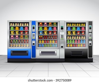 Realistic vending machines front view with food and drinks on tiled floor near grey wall vector illustration