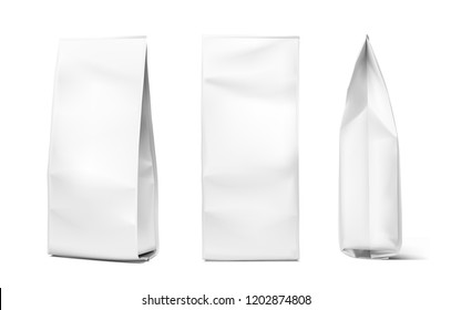 Realistic vertical bag. View from the face and side. Vector illustration isolated on white background. EPS10.