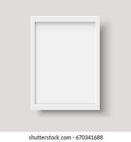 Realistic vertical blank picture frame. Empty white picture frame mockup template isolated on gray background. Vector illustration