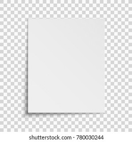 Realistic vertical white sheet of paper isolated on a transparent background. Grid pattern. Template for your project. Vector illustration