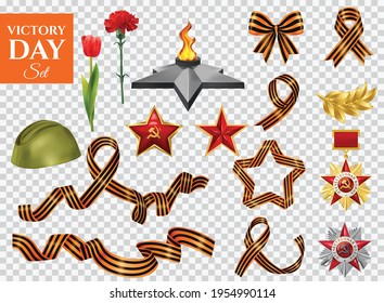 Realistic victory day transparent set of isolated world war icons saint george ribbons medals and flowers with text