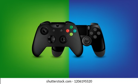Realistic Video Game Controller 2 Model on Color Character Background, Compare concept, Vector Illustration.