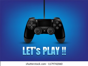 realistic video game controller on blue background, isolated, Vector Illustration.
