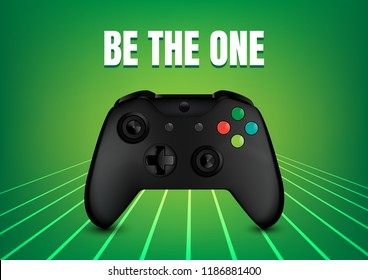 realistic video game controller vector on green abstract background, Illustration.