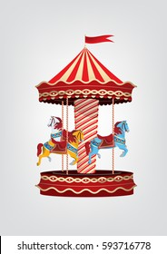 Realistic vintage carousel with blue, orange and white horses. Vector illustration