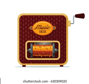 Realistic vintage music box. Isolated on white