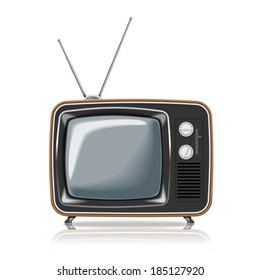 Realistic vintage TV. Illustration on white background for design