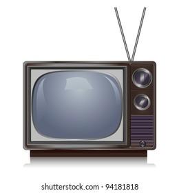 Realistic vintage TV set isolated on white background, retro
