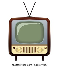 Realistic vintage TV. Vector Illustration on white background for design