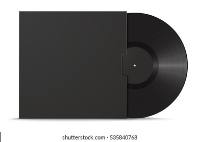 Realistic vinyl record in sleeve. Black blank mock up isolated on white background. Vector illustration
