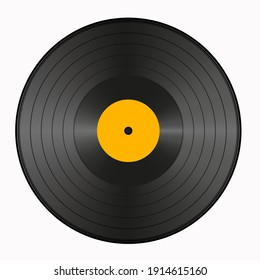 Realistic vinyl record. Vector, record for gramophone. Classic vinyl record for music. Editable isolated object.