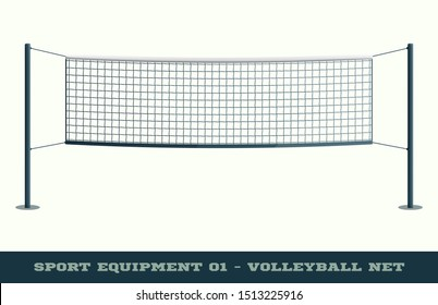 Realistic Volleyball Net for Sport Game, Activity Leisure Isolated on White Background. Vector illustration of Beach Play Element.