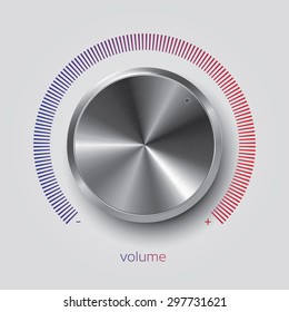 Realistic volume knob with metal texture and gradient scale, vector illustration